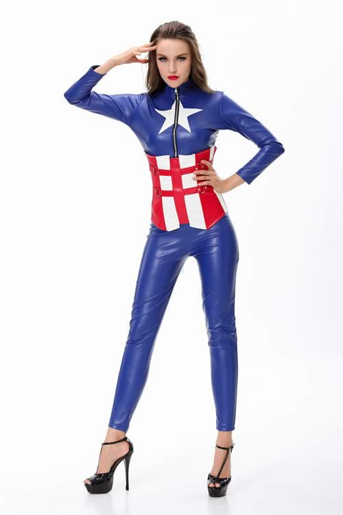 Halloween Women Captain America Warrior Superhero Costume