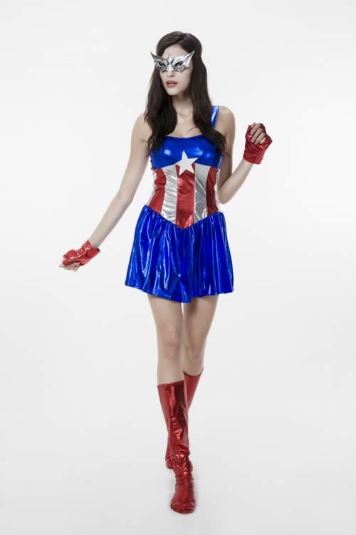 Sexy Women Captain America Costume with Stars and Stripe