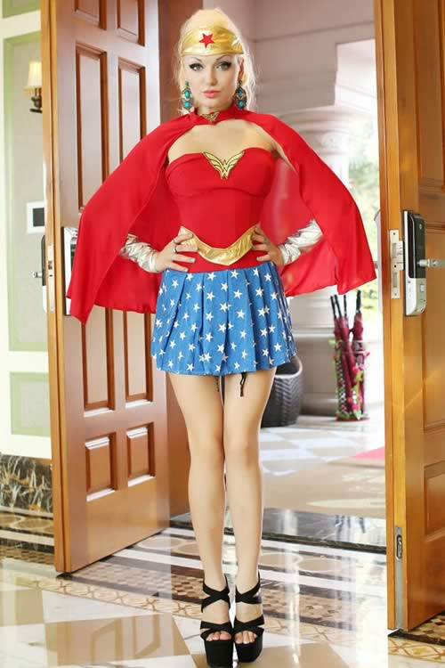 Cheap Superhero Wonder Woman Costume in Red