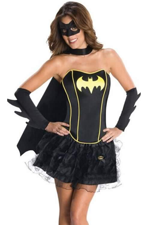 Black Superhero Women Bat Corset Costume