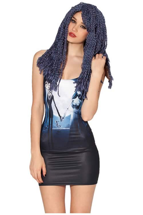 Halloween Womens Corpse Bride Mini Dress in Black