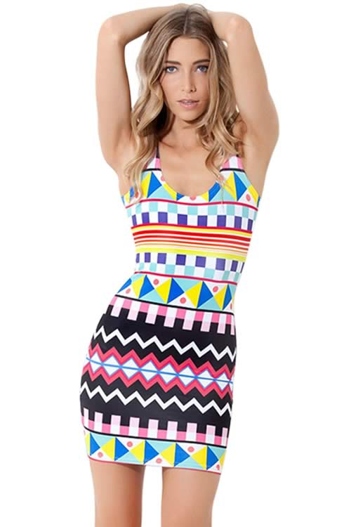 Moroccan Geometric Pattern Print Sleeveless Mini Dress