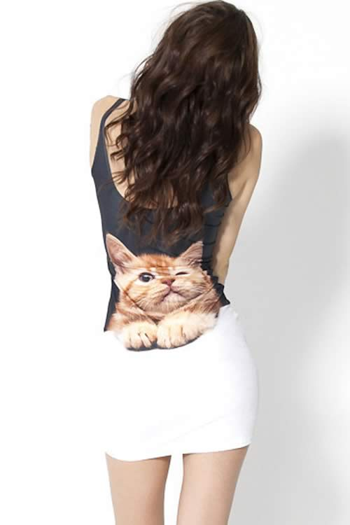 Cute Cat Printed Sleeveless Mini Dress in Black White