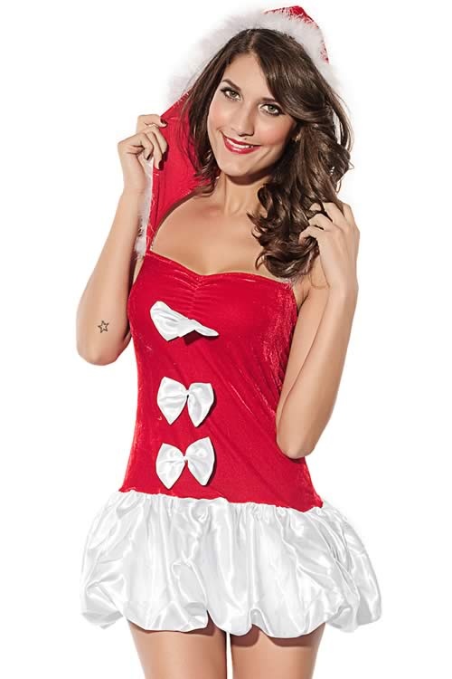 Santas Doll Christmas Dress in White and Red