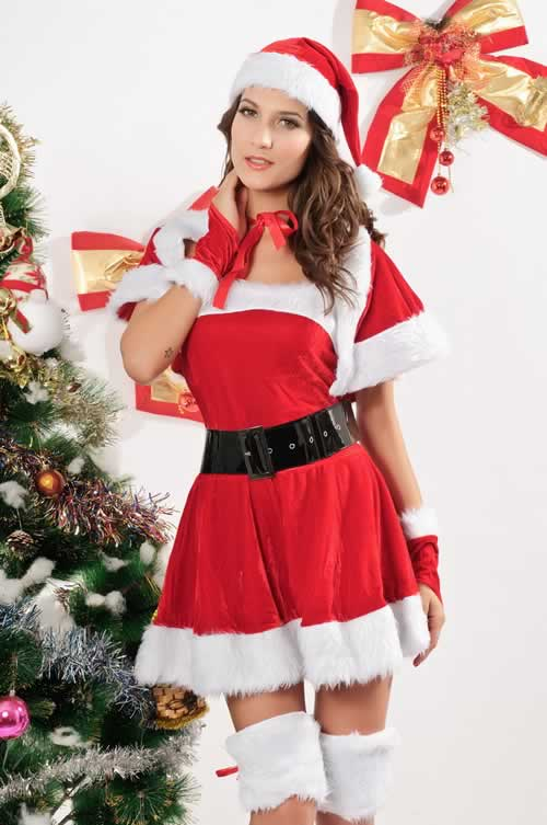 Women Velvet Miss Santa Christmas Costumes