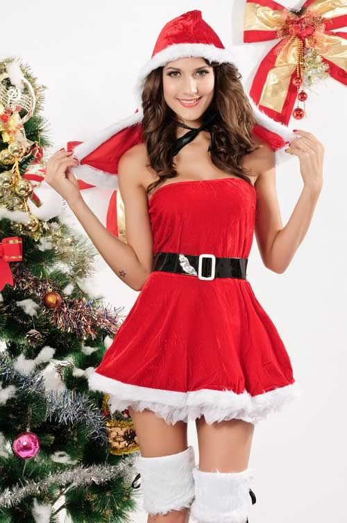 Christmas Fur Trimmed Mini Dress for Women