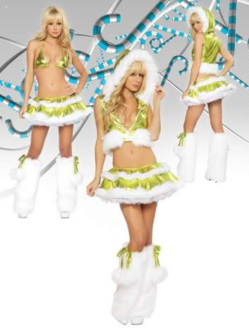Women Fur Trimmed Christmas Costumes in Green