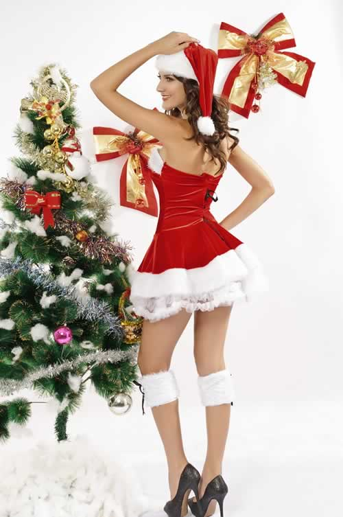Women Red Velvet Lace up Christmas Costumes