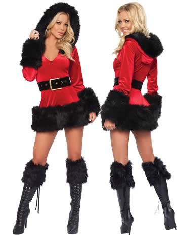 Hooded Fur Trim Velvet Santa Christmas Costumes
