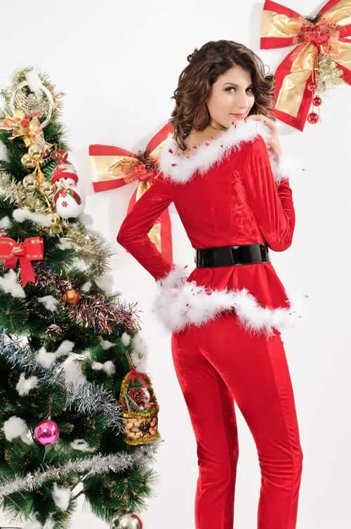 Christmas Women Punky Santa Costume with Hoodie and Pants