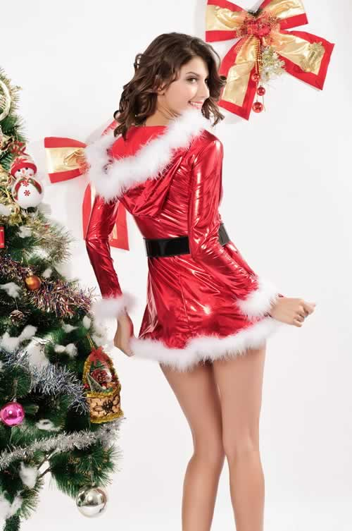 Christmas Punky Santa Hoody Dress with Belt