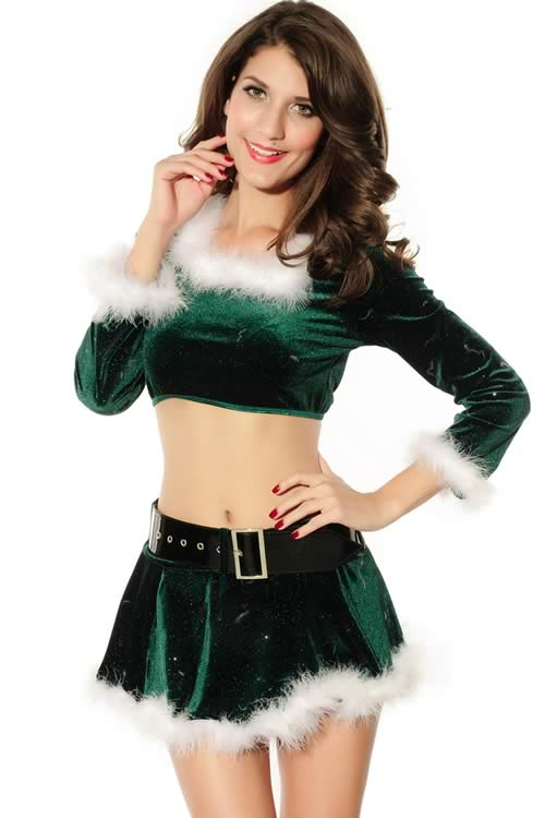 Long Sleeve Marabou Elf Christmas Costume in Green
