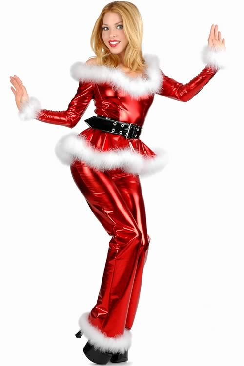 Fluffy Red Santa Costume for Girl