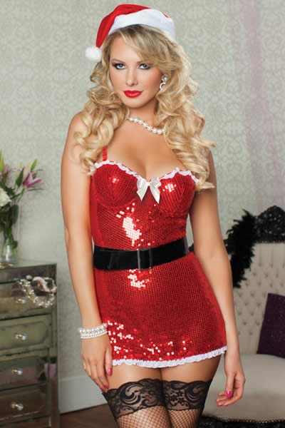 Naughty Shiny Sequined Santa Costumes for Women