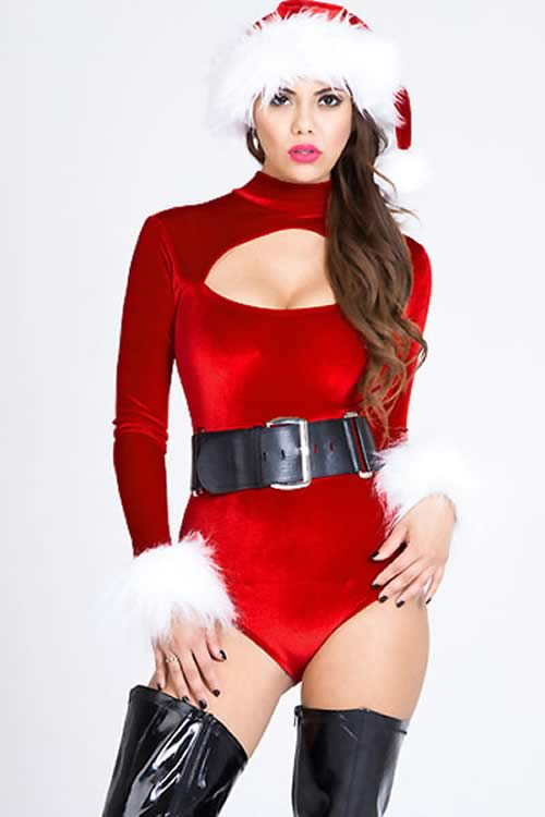 Foreplay Velvet Belle Christmas Bodysuit