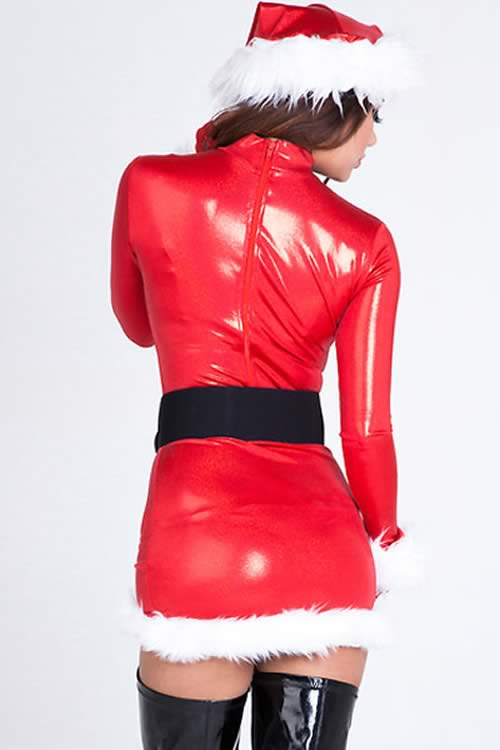 Shiny Faux Leather Christmas Costumes for Women