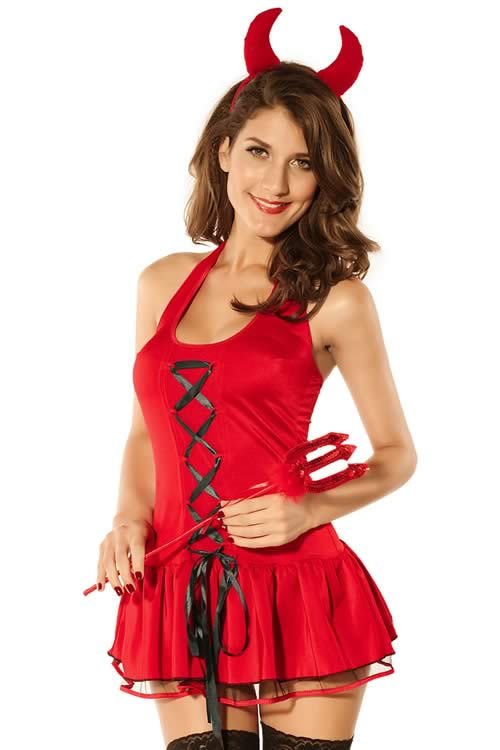 Women Devil Halloween Costume with Lace up Mini Dress