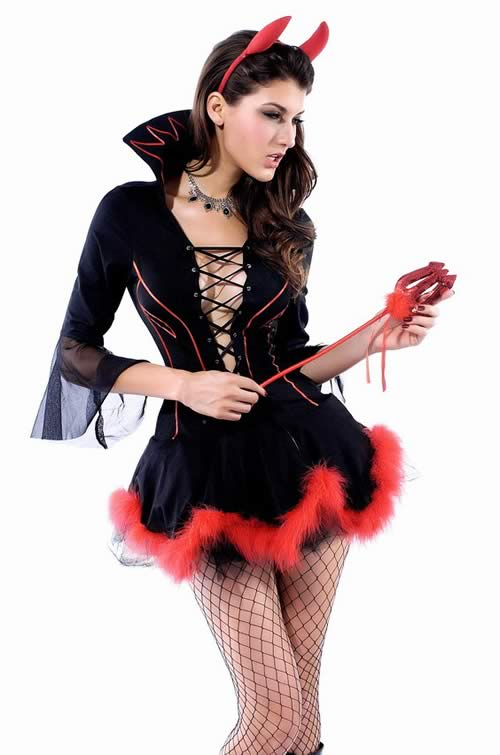 Halloween Miss Iblis Devil Costume in Black