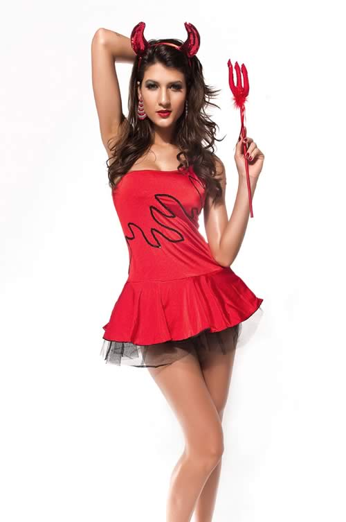 Sequin Red Devil Halloween Costume for Women