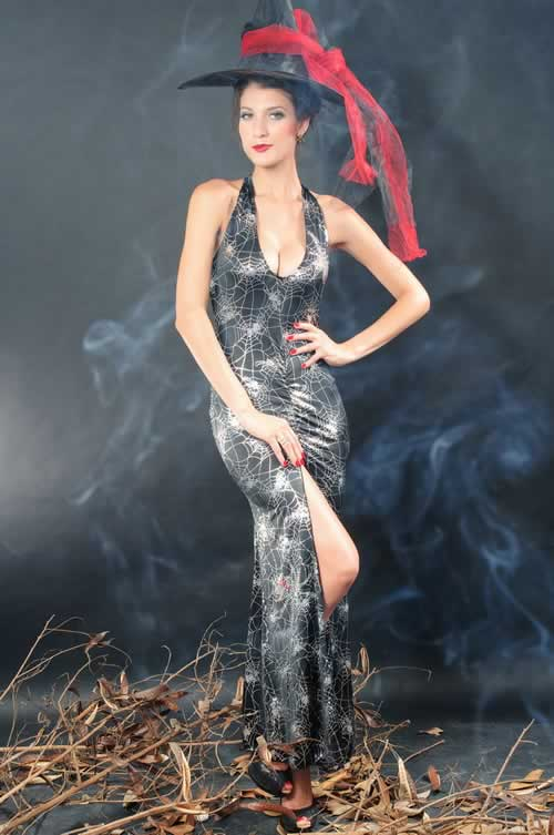 Halloween Women Witch Gown Costume with Spiderwebs Printed