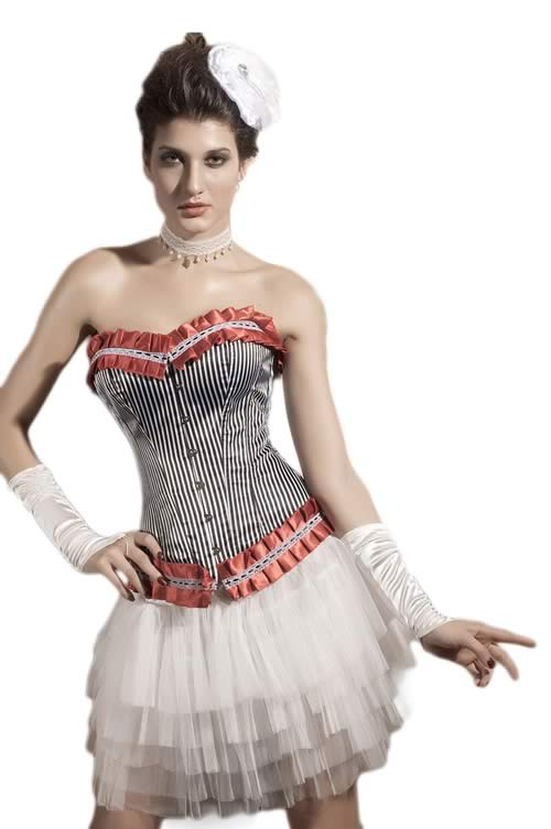 Cheap Women Ruffle Striped Overbust Corset
