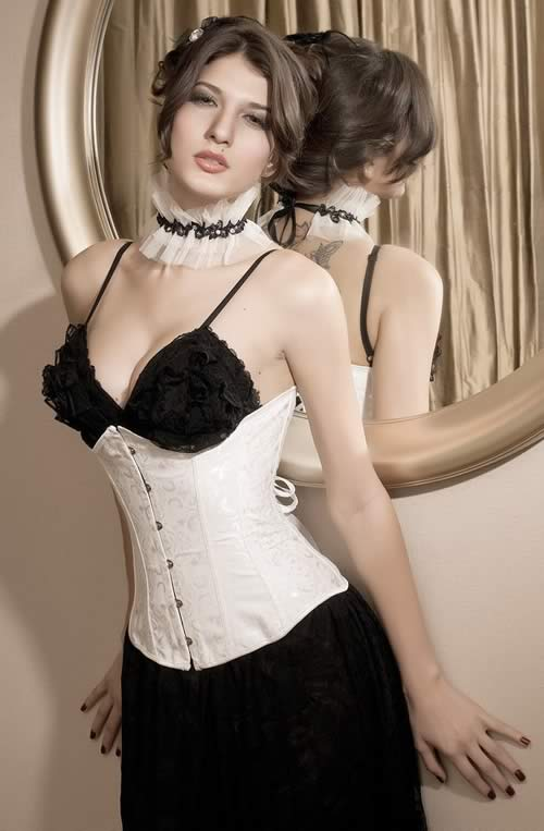 White Brocade Underbust Waist Training Corset