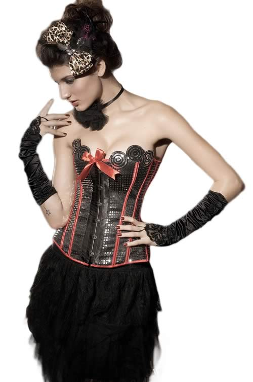 Red Women Circus Burlesque Overbust Corset