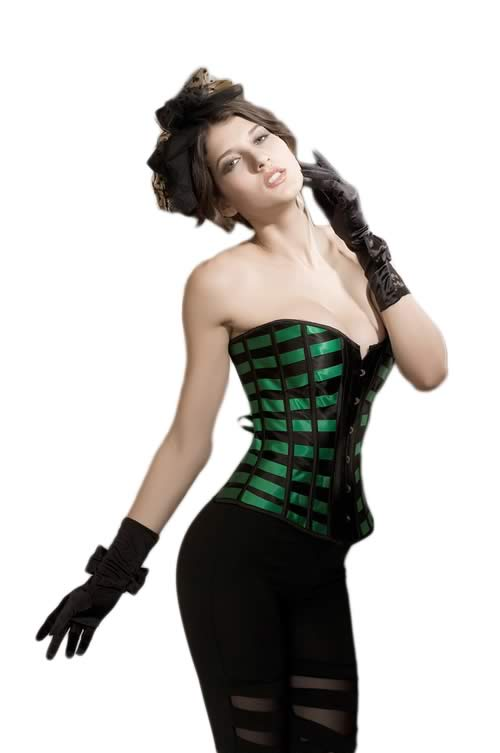 Sexy Green Lattice Ribbon Overbust Corset