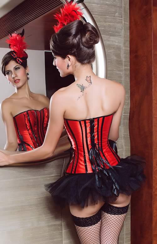 Best Ruffle Trim Betty Overbust Corset in Red