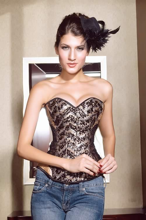 Sequin Waist Cincher Corset Tops in Gold