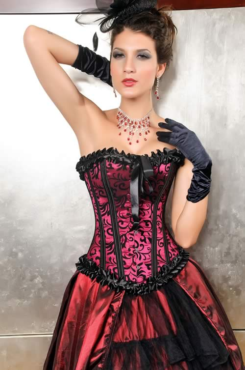 Sexy Satin Brocade Waist Training Corset in Red