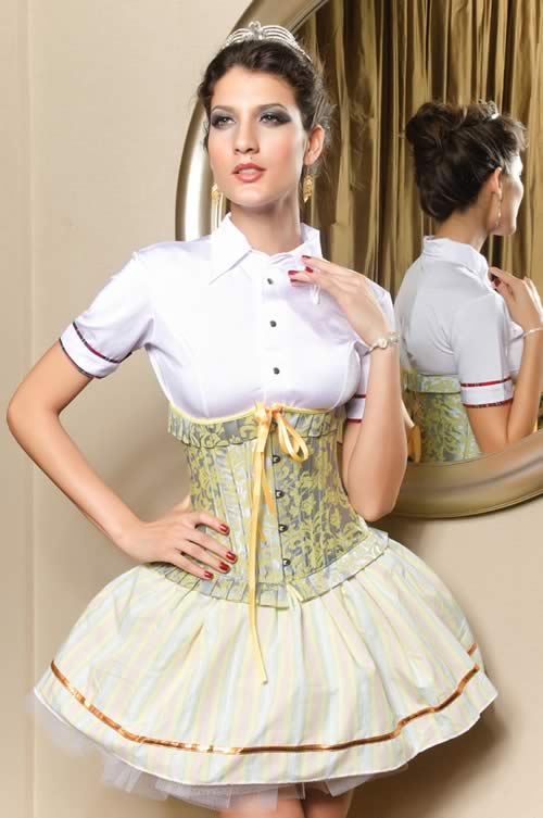 Palace-style Ruffled Weight Loss Underbust Corset in Yellow