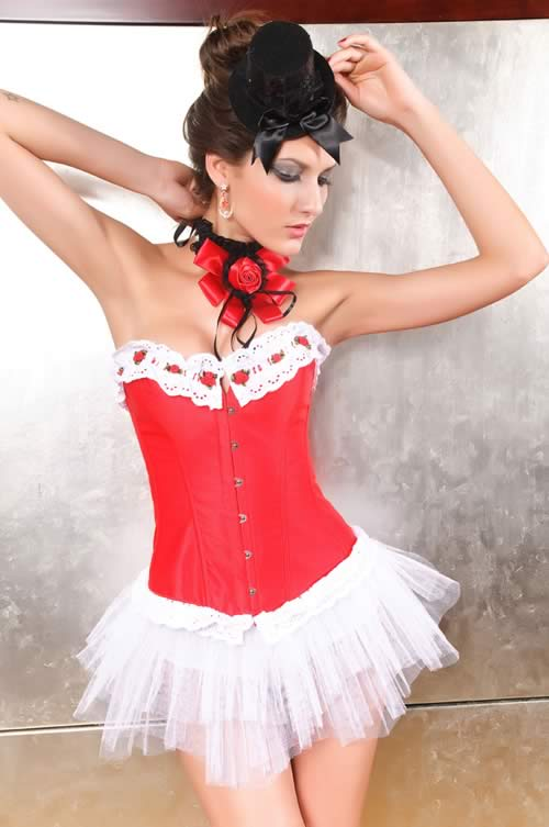 Lace Frills Overbust Steel Boned Corset in Red