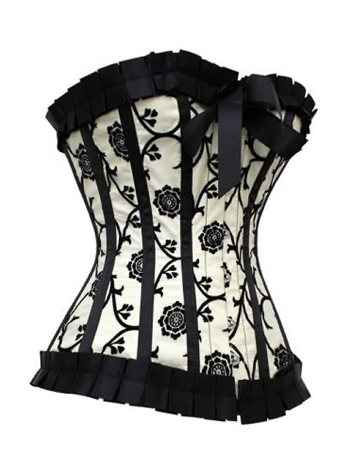 Noble Pleated Trimming Floral Body Shaper Corset in Black and Ivory