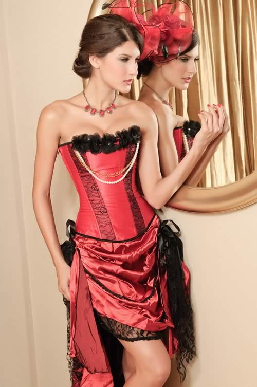 Pearl Lace Burlesque Waist Training Corset in Red