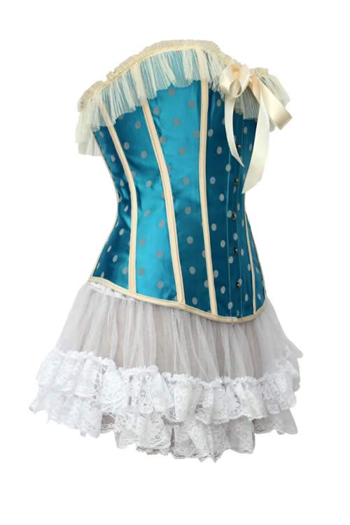Girl Fashion Gothic Steel Boned Corset with Skirt