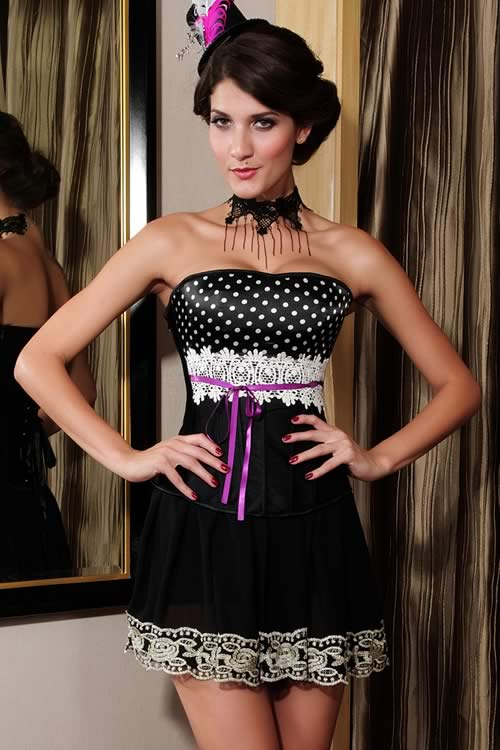 Luxury Polka Dot Lace Overbust Corset in Black