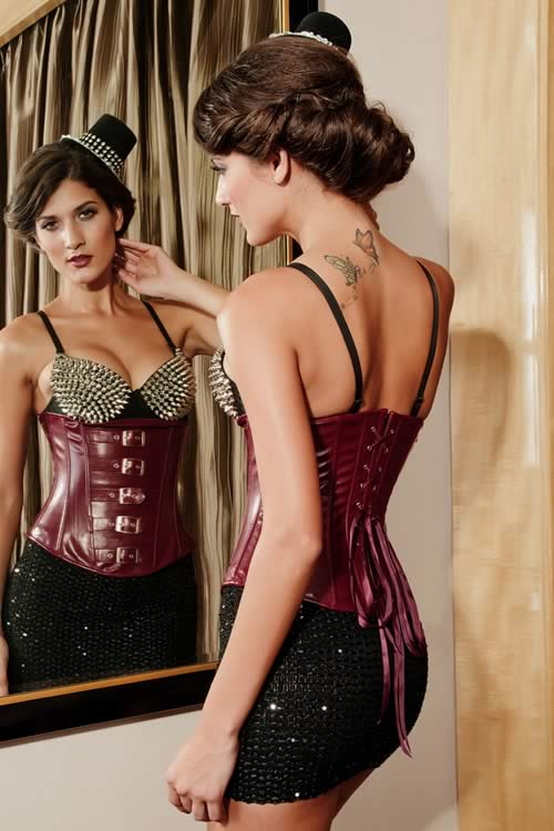 Gothic Steel Boned Leather Waist Cincher Corset in Coffee