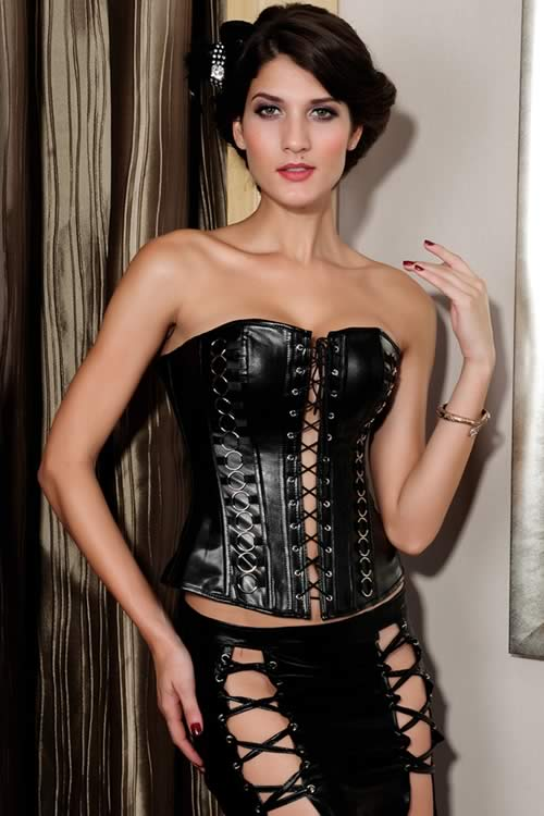 Sexy Strapless PVC Steel Boned Hourglass Corset in Black