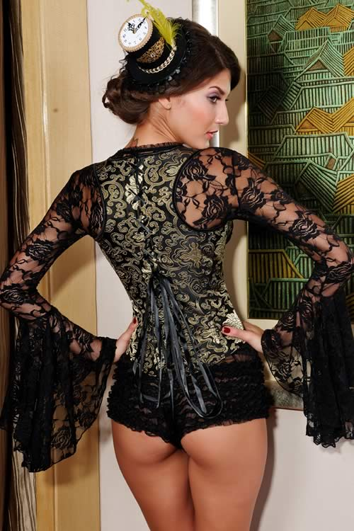Gorgeous Steel Boned Jacquard Corset Tops in Gold