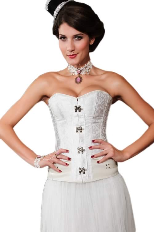Steampunk Brocade Leather Body Shaper Corset White