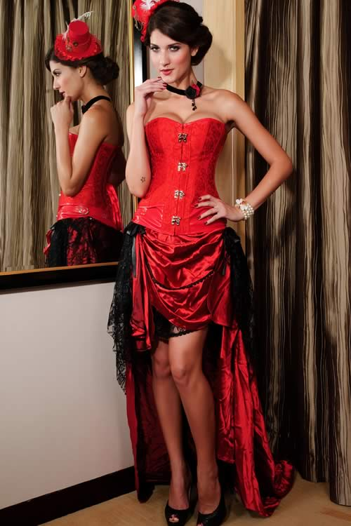Steampunk Brocade Leather Body Shaper Corset Red