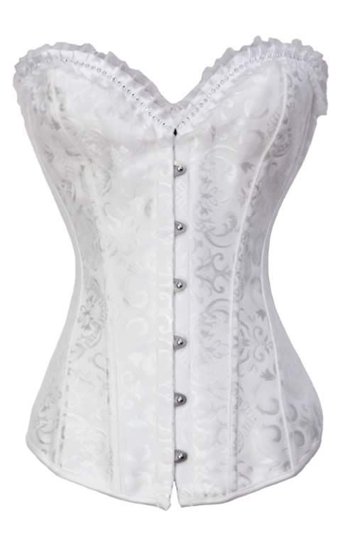 Rhinestone and Brocade Body Shaper Corset White