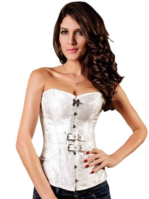Luxurious Hourglass Jacquard Strapless Corset White