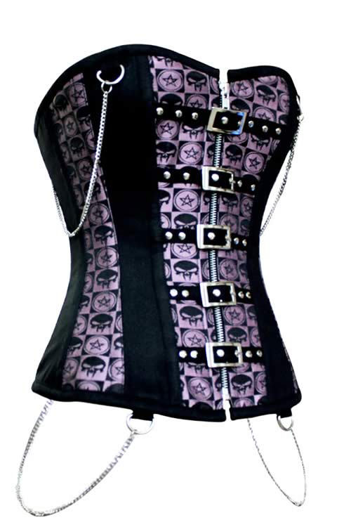 Lover Beauty Body Shaper Corset Purple with Chains