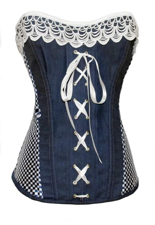 Blue Womens Waist Cincher Denim Corset Tops