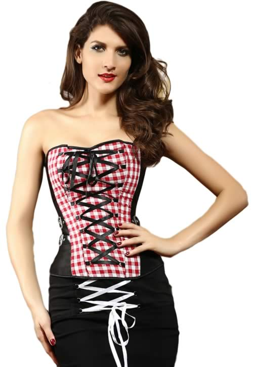 Pretty Girl Waist Cincher Plaid Corset with Crisscross Ribbon