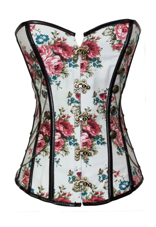 Floral Pattern Stud Military Waist Cincher Corset
