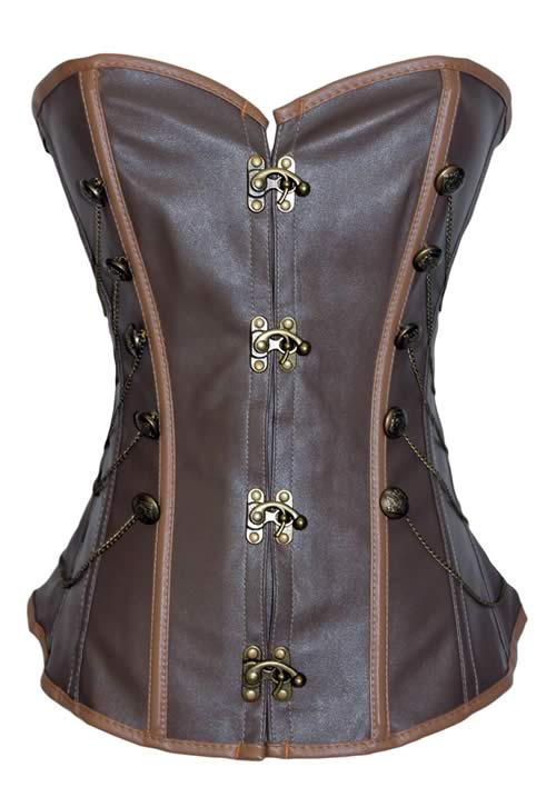 Brown Steampunk Leather Waist Training Corset