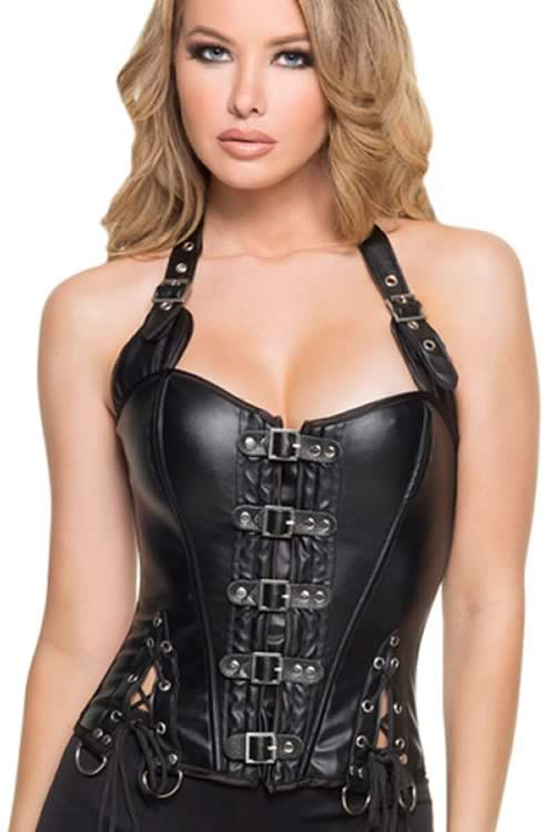 Buckle-up Steampunk Leather Waist Cincher Corset Black